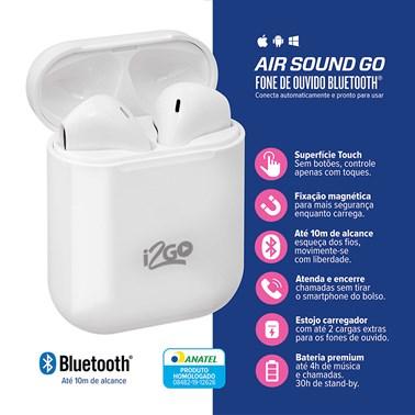 Fone de Ouvido Bluetooth Sem Fio TWS Air Sound Go i2GO com Estojo de Carregamento - i2GO Plus