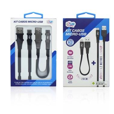 Kit Cabo Micro USB i2GO 1,2m 2,4A + Cabo Micro USB 20cm 2,4A - i2GO Plus