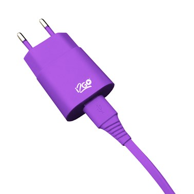 Kit Carregador de Parede USB 1A + Cabo Lightning 2,4A i2GO Roxo - i2GO Basic