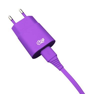 Kit Carregador de Parede USB 1A + Cabo Micro USB 2,4A i2GO Roxo - i2GO Basic