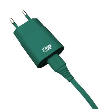 Kit Carregador de Parede USB 1A + Cabo Micro USB 2,4A i2GO Verde - i2GO Basic