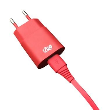 Kit Carregador de Parede USB 1A + Cabo Micro USB 2,4A i2GO Vermelho - i2GO Basic