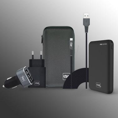 Kit Completo Carregamento para Smartphone Android (Cabo Micro-USB de 3 metros) - i2GO