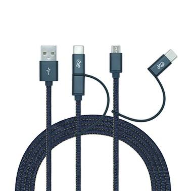 Kit Completo de Acessórios Jeans para Smartphone Android (Cabo Micro USB e USB-C)  - i2GO