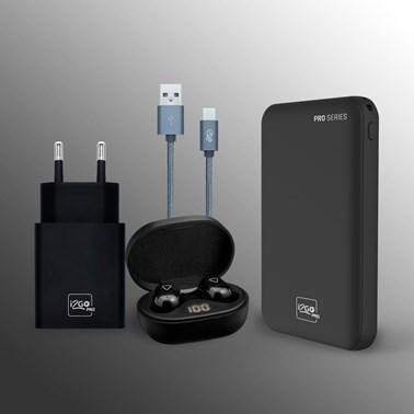 Kit Completo Fone de Ouvido Bluetooth Sem Fio TWS Air PRO GO + Powerbank 5000 mAh + Cabo USB-C + Carregador de Parede 3.4A - i2GO PRO