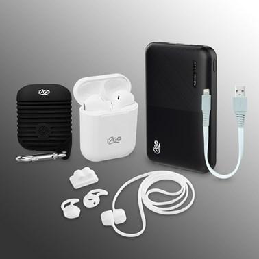 Kit Completo Fone de Ouvido Bluetooth Sem Fio TWS Air Sound + Power Bank 5000 mAh + Cabo Lightning 20cm + Case à Prova DÁgua + Acessórios -  i2GO Plus