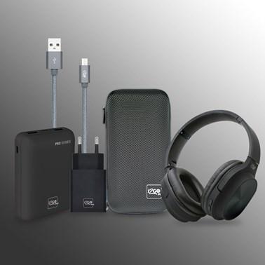 Kit Completo Headphone Bluetooth Comfort GO + Powerbank 10000 mAh + Cabo Micro-USB + Carregador de Parede 3.4A + Estojo - i2GO PRO